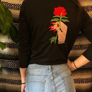 Tops - Rose & lady w long red nails long sleeve